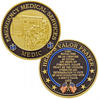 emergency medical services medic challenge coin prayer